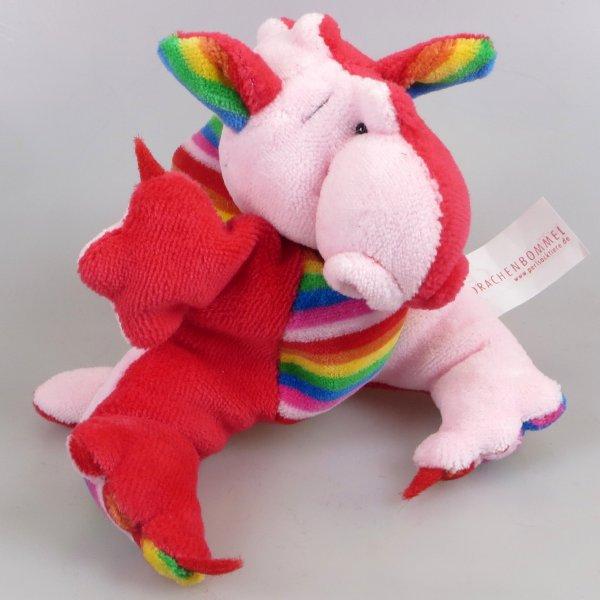 Drachenbommel klein Patchwork Rosa Rot Regenbogen